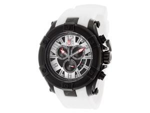 Men's Gladiator Chronograph Silver and Black Dial White Silicone