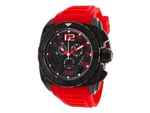 Elini Barokas Men's Commander Chronograph Black Textured Dial Red Silicone