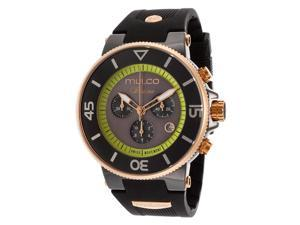 Mulco Women's Ilusion Chronograph Grey and Green Dial Black Rubber
