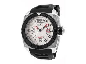 Elini Barokas Men's Commander White Textured Dial Black Silicone