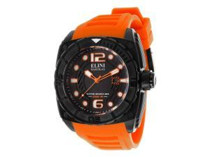 Elini Barokas Men's Commander Black Textured Dial Orange Silicone