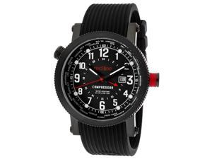 Red Line Men's Compressor World Time Black Dial Black Textured Silicone