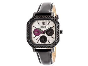 Relic By Fossil Women's Relic Silver Dial Black Genuine Leather