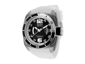 Elini Barokas Men's Commander Black Dial White Silicone