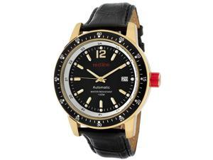 Red Line Men's Meter Automatic Black Dial Black Genuine Leather