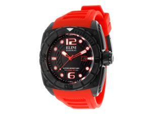 Elini Barokas Men's Commander Black Dial Red Silicone