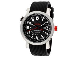 Men's Compressor World Time Black Dial Black Textured Silicone