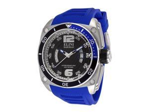 Elini Barokas Men's Commander Black Dial Blue Silicone