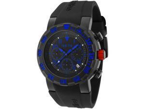 Men's RPM Chronograph Black Dial Black IP Case Blue Accents Black Siliocne