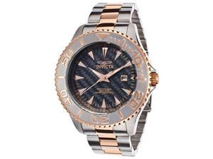 Invicta Men's Pro Diver Carbon Fiber Dial Stainless Steel and 18K Rose Gold Plat