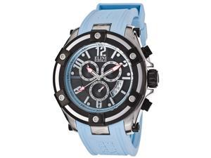 Elini Barokas Men's Gladiator Chronograph Black Dial Light Blue Silicone