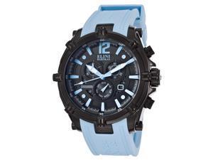 Elini Barokas Men's Fortitudo Chronograph Black Dial Light Blue Silicone