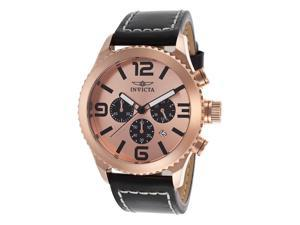 Invicta Men's Specialty 18K Rose Gold Plated Steel Case Chronograph Black Genuin