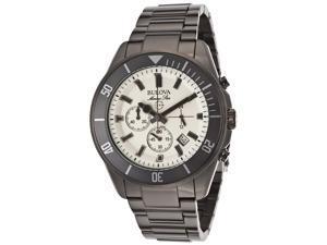 Bulova Marine Star Chronograph Cream Dial Gunmetal Ion-plated Mens Watch 98B205