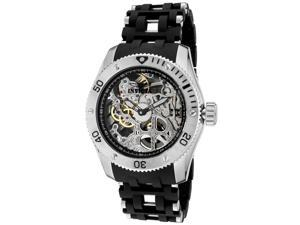 Men's Sea Spider Mechanical Silver Skeletonized Dial SS & Black Polyurethane