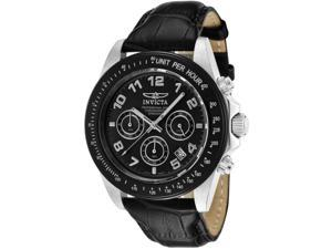 Invicta Men's Speedway Chronograph Black Dial Black Genuine Calf Leather