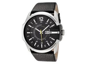 Diesel Men's Black Dial Black Leather
