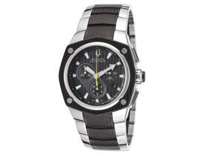 Bulova 65B123 Accutron Corvara Black Dial Chronograph Two Tone Steel Men's Watch