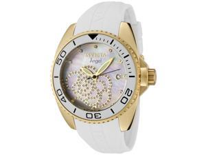 Women's Angel White Polyurethane White MOP Dial Cubic Zirconia Markers