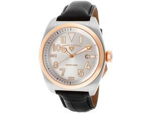 Men's Heritage Silver Dial Rose Gold Tone Bezel Black Genuine Leather