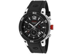 Red Line Men's Mission Chronograph Black Carbon Fiber Dial Black Silicone Watch