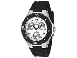 Women's Angel Black Silicone White Dial