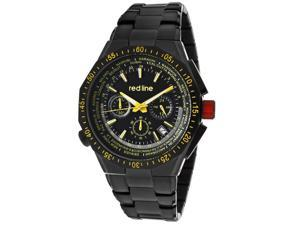 Red Line Men's Travel Chrono Yellow Accents Black Dial Black IP SS