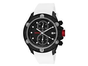 Men's Carbon Brake Chronograph Black Dial White Silicone
