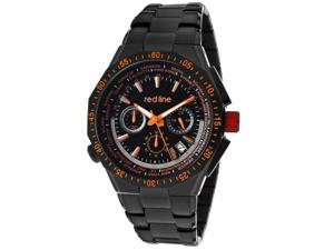 Red Line Men's Travel Chrono Orange Accents Black Dial Black IP SS