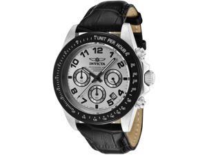 Invicta Men's Speedway Chronograph - Silver Dial & Black Genuine Calf Leather