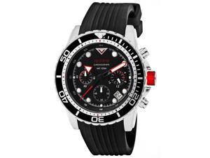 Men's Piston Chronograph Black Dial Black Silicone