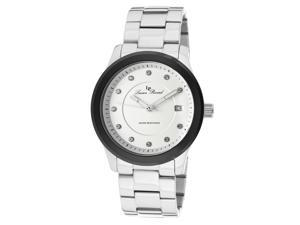 Cima Stainless Steel White Dial Black Bezel Crystals