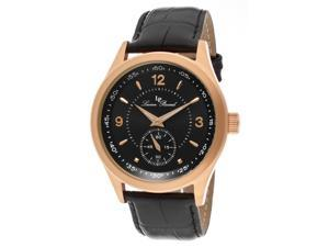 Grande Casse Black Genuine Leather Black Dial Rose-Tone Case