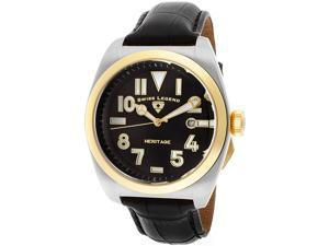 SWISS LEGEND Men's Heritage Black Dial Gold Tone IP Bezel Black Genuine Leather