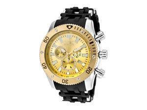 Men's Sea Spider Chronograph Gold Dial Black Polyurethane & Stainless Steel