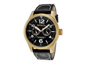 Men's I-Force Black Genuine Leather and Dial