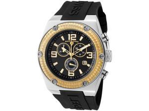 SWISS LEGEND Men's Throttle Chronograph Black Dial Gold Tone Bezel Black Silicone