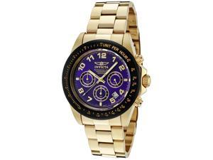 Invicta Men's Speedway Chronograph Blue Dial 18K Gold Plated SS