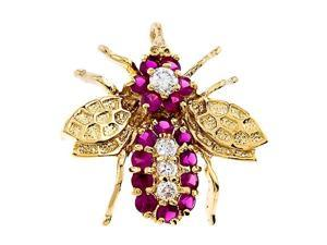Ruby 18K Gold Over 925 S/S Pin Brooch