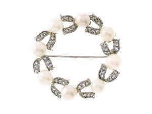 Circle C.Z. Diamond Faux Pearl Wreath Brooch