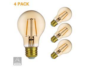 Amber LED Light Bulb Dimmable - Edison LED Filament Light Bulb A19 2.5W LED Victorian Bulb - 120V 2200K Amber Glass Warm White E26 (4 PACK)