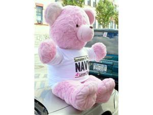 JUMBO 4-FEET-TALL PINK TEDDY BEAR WEARING SOMEBODY IN THE NAVY LOVES YOU T-Shirt