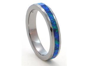 Faceted 4mm Precious Opal Tungsten Carbide Ring with Blue Inlays that flashes with Blue Fire with a Hint of Green