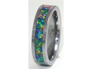 8mm Precious Opal Tungsten Ring with a Brilliant Display Multi Color Fire (Yellow Green)