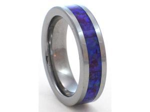6mm Precious Opal Tungsten Carbide Ring with a Blue Opal Inlay that has a purple hue hidden in its matrix