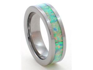 6mm Precious Opal Tungsten Carbide Ring Traditional White Opal that flashes with the entire rainbow of colors