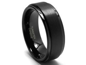 8mm Tungsten Carbide Wedding Band Ring w/ Brushed Top (Sizes 8-15)