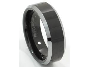 Tungsten Carbide Ring with Plated Black Center (Sizes 4-16)