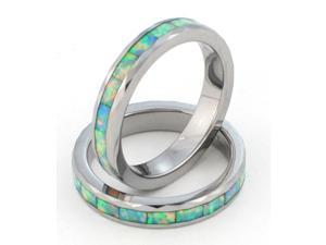 4mm Precious Opal Tungsten Carbide Ring with Traditional White Opal that flashes with the entire rainbow of colors