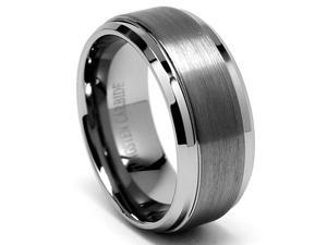 8mm Tungsten Carbide Ring w/ Brushed Top (Sizes 8-15)